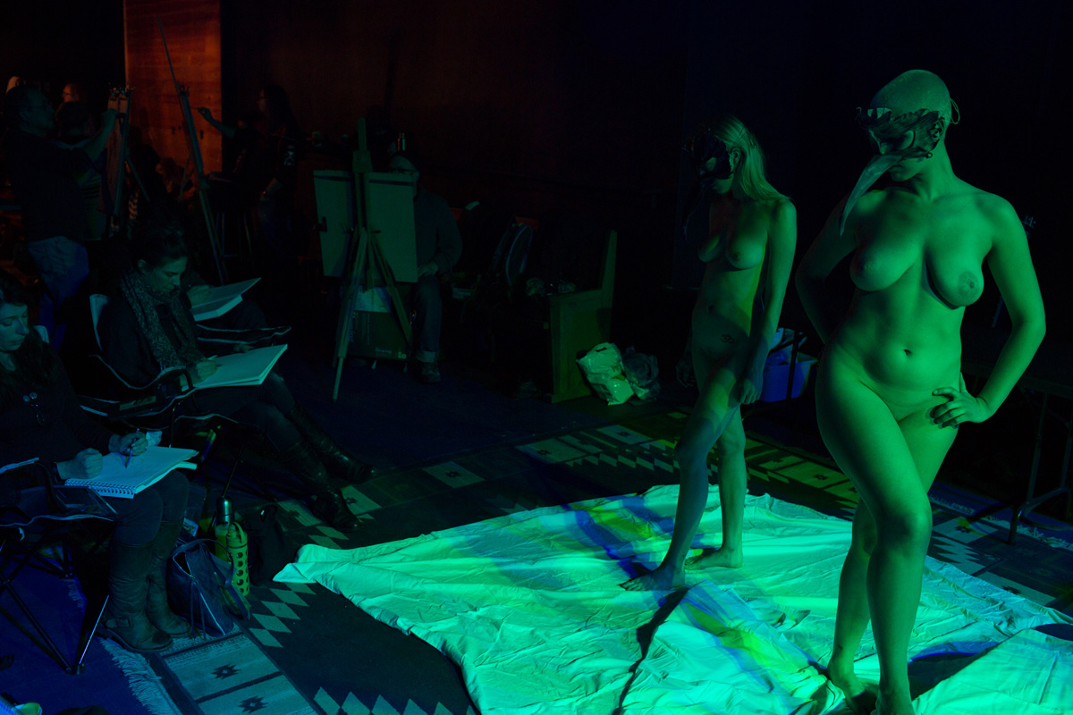 Off-Beat Figure Drawing Session, Figure Drawing Event Photography, Figurative Art Photography, Nude Art, Fehu Mask